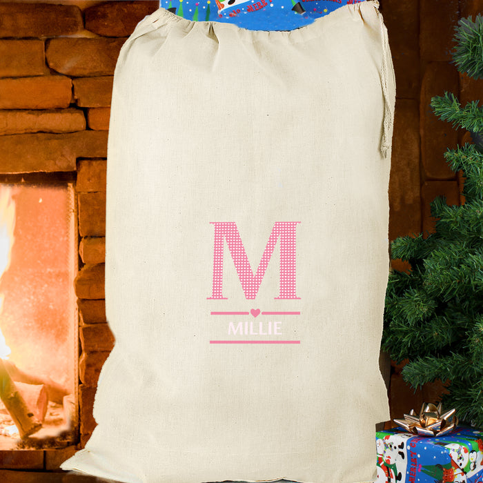 Personalised Girls Initial Cotton Sack