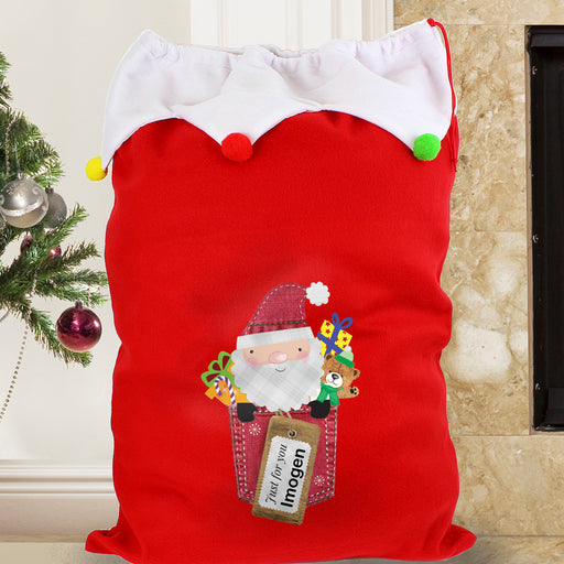 Personalised Santa Claus Multicoloured Pom Pom Sack