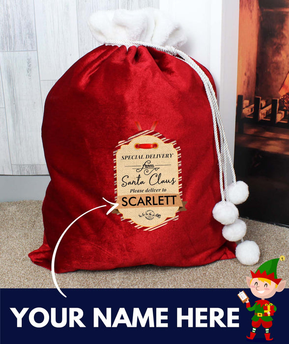 Personalised Special Delivery Luxury Pom Pom Sack