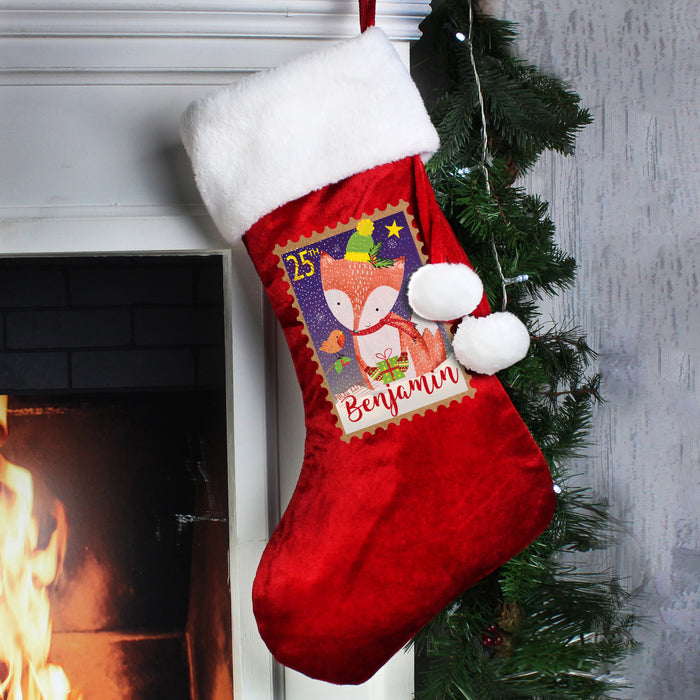 Personalised Festive Fox Luxury Stocking