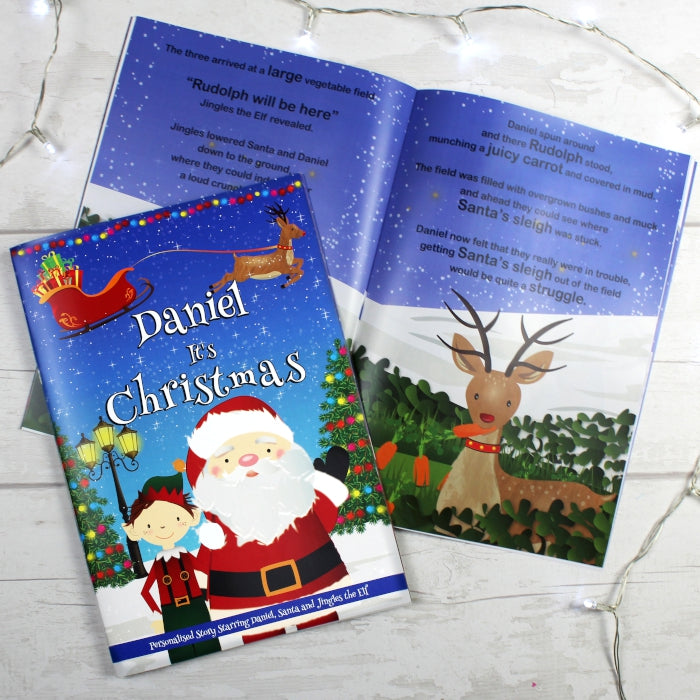 "Personalised Boys """"It's Christmas"""" Story Book, Featuring Santa and his Elf Jingles"