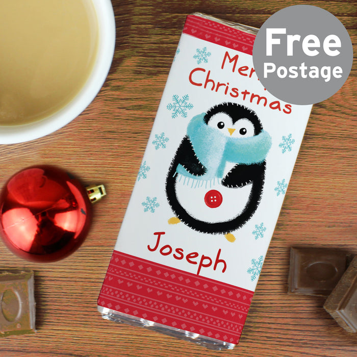 Personalised Felt Stitch Penguin Milk Chocolate Bar