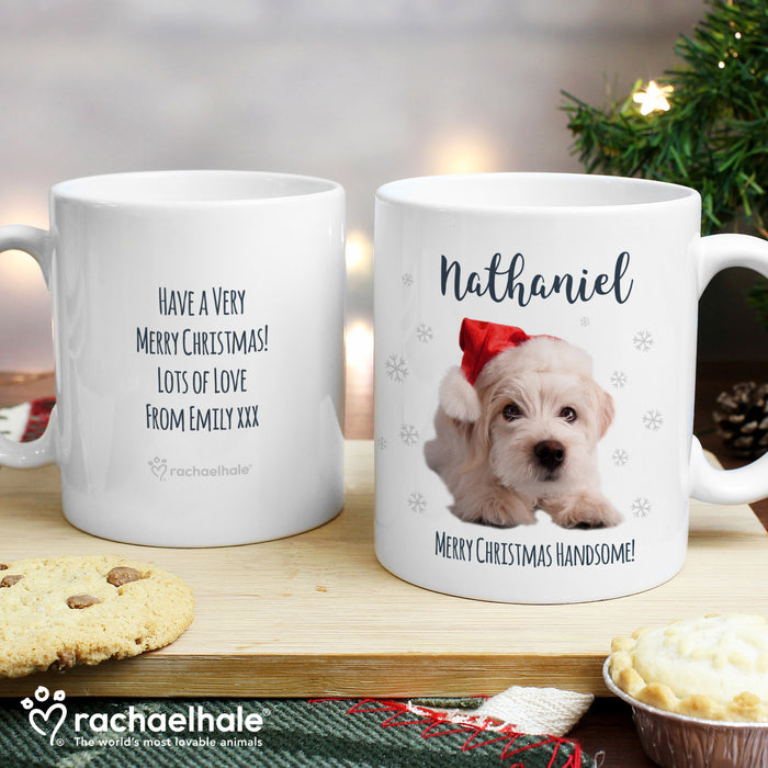Personalised Rachael Hale Christmas Terrier Dog Mug