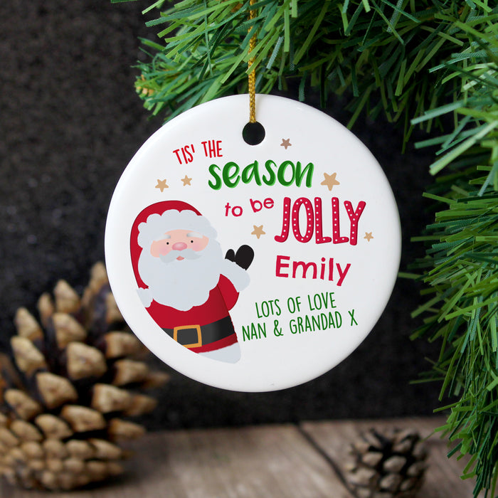 Personalised 'Tis the Season' Round Ceramic Decoration