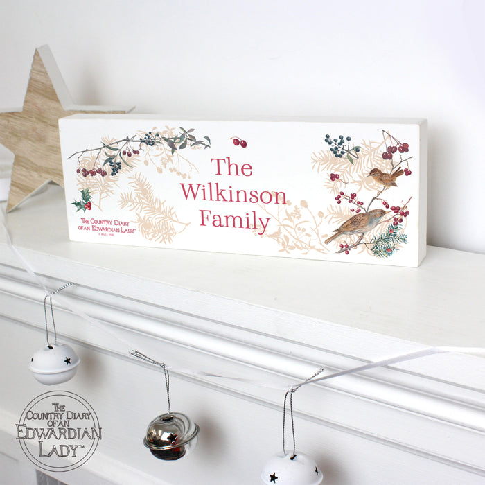 Personalised Country Diary Midwinter Wooden Block Sign