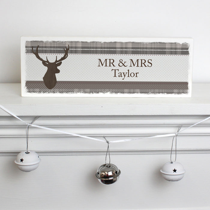 Personalised Highland Stag Wooden Block Sign