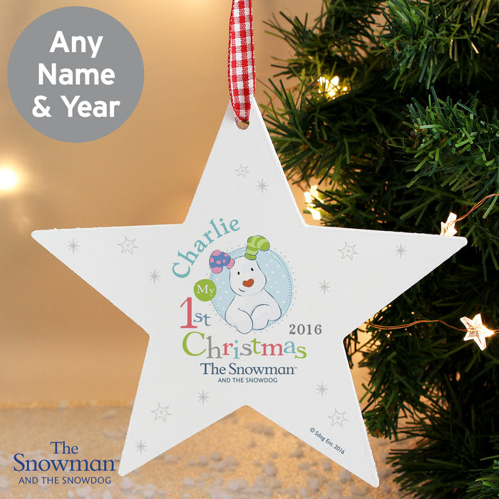 Personalised The Snowman and the Snowdog My 1st Christmas Blue Wooden Star Decoration