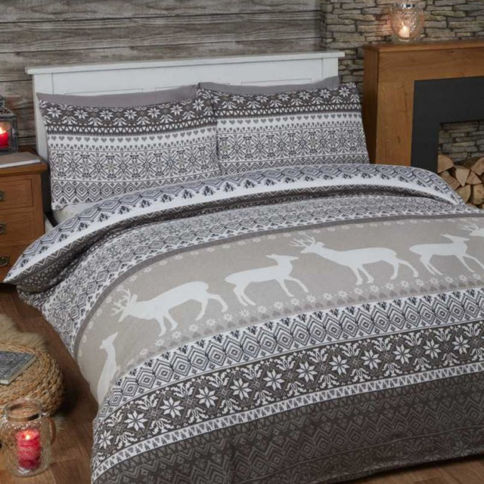 Fairisle Christmas Duvet Set Grey