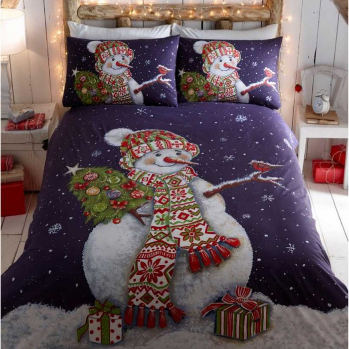 Happy Snowman Christmas Duvet Set