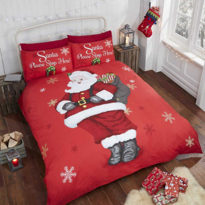Santa Stop Here Christmas Duvet Set
