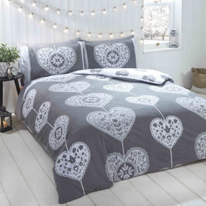Scandi Hearts Christmas Duvet Set Grey