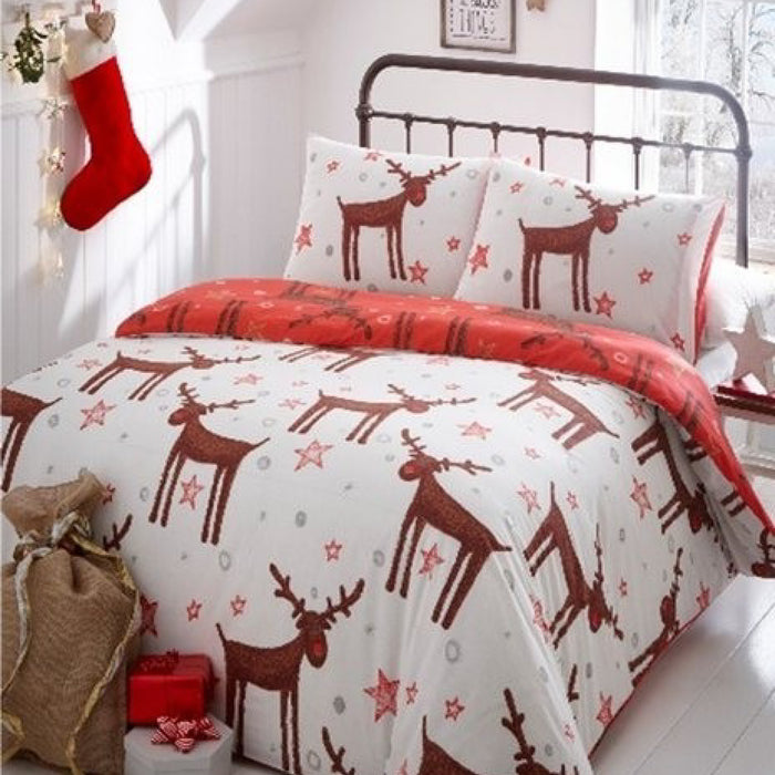 Shaggy Reindeer Christmas Duvet Set