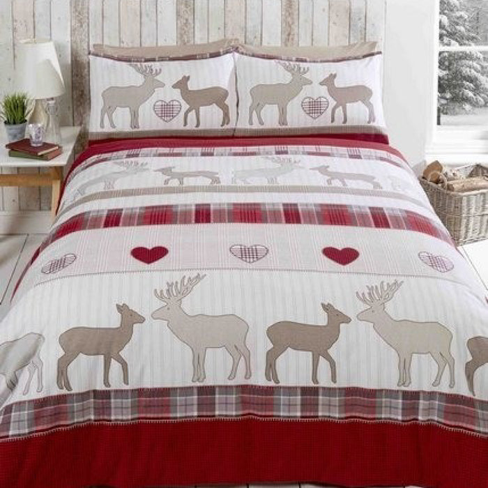St Andrews Christmas Duvet Set Red