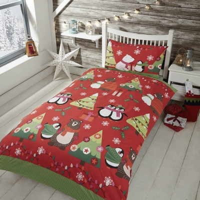 Together at Christmas Duvet Set Red