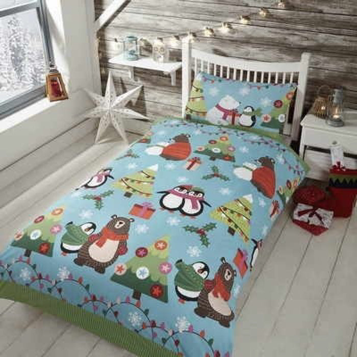 Together at Christmas Duvet Set Blue