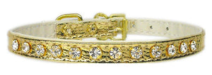 "#10 Gold-A 5/16"" wide collar with one row of clear crystals.-#10 Collar-Bella's PetStor"