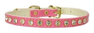 "#10 Pink-A 5/16"" wide collar with one row of clear crystals.-#10 Collar-Bella's PetStor"