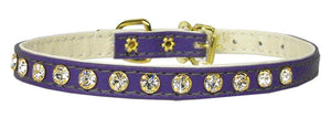 "#10 Purple-A 5/16"" wide collar with one row of clear crystals.-#10 Collar-Bella's PetStor"