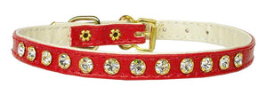 "#10 Red-A 5/16"" wide collar with one row of clear crystals.-#10 Collar-Bella's PetStor"
