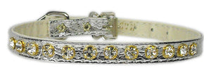 "#10 Silver-A 5/16"" wide collar with one row of clear crystals.-#10 Collar-Bella's PetStor"