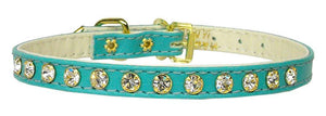 "#10 Turquoise-A 5/16"" wide collar with one row of clear crystals.-#10 Collar-Bella's PetStor"