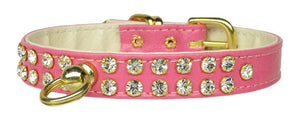 "#31 Pink-A 1/2"" wide faux leather collar with two rows of handset Czech crystals. -#31-Bella's PetStor"