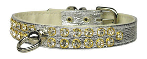 "#31 Silver-A 1/2"" wide faux leather collar with two rows of handset Czech crystals. -#31-Bella's PetStor"