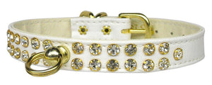 "#31 White-A 1/2"" wide faux leather collar with two rows of handset Czech crystals. -#31-Bella's PetStor"