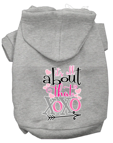 All About That Xoxo Screen Print Dog Hoodie-Valentines-Bella's PetStor