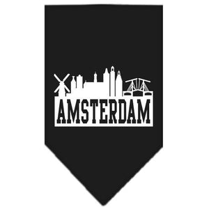 Amsterdam Skyline Screen Print Bandana Black Small-Amsterdam skyline screen print bandana new pet products-Bella's PetStor