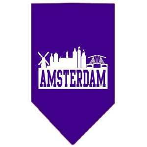 Amsterdam Skyline Screen Print Bandana Purple Small-Amsterdam skyline screen print bandana-Bella's PetStor