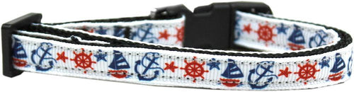 Anchors Away Nylon Ribbon Cat Safety Collar-Dog Collars-Bella's PetStor