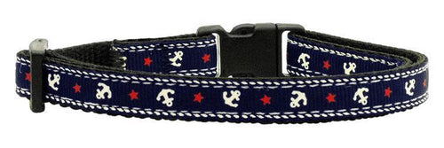 Anchors Nylon Ribbon Collar Blue Cat Safety-DOGS-Bella's PetStor