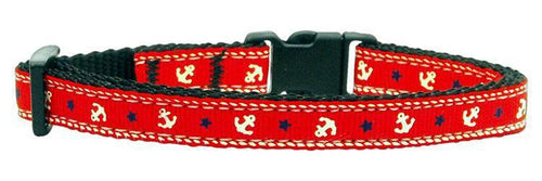 Anchors Nylon Ribbon Collar Red Cat Safety-DOGS-Bella's PetStor