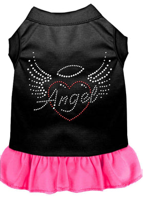 Angel Heart Rhinestone Dress Black With Bright Pink-Dog Clothing-Bella's PetStor