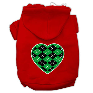 Argyle Heart Green Screen Print Pet Hoodies Size-Dog Clothing-Bella's PetStor