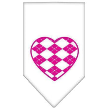 Load image into Gallery viewer, Argyle Heart Pink Screen Print Bandana-Dog Clothing-Bella's PetStor