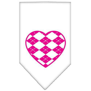 Argyle Heart Pink Screen Print Bandana White Large-Argyle heart pink screen print bandana-Bella's PetStor
