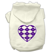 Load image into Gallery viewer, Argyle Heart Purple Screen Print Pet Hoodies Size-Dog Clothing-Bella's PetStor