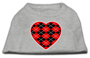 Argyle Heart Red Screen Print Shirt-Valentines-Bella's PetStor