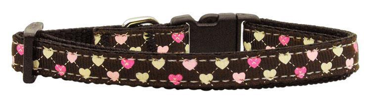 Argyle Hearts Nylon Ribbon Collar Bright Pink-DOGS-Bella's PetStor
