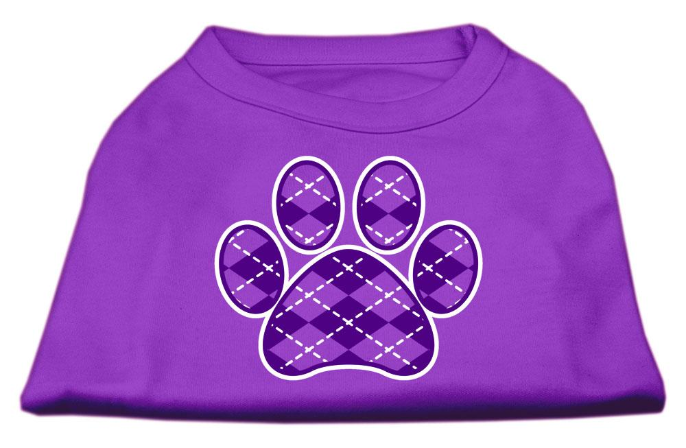 Argyle Paw Purple Screen Print Shirt-Valentines-Bella's PetStor