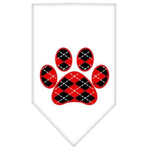 Argyle Paw Red Screen Print Bandana White Small-Argyle paw red screen print bandana-Bella's PetStor