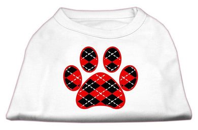 Argyle Paw Red Screen Print Shirt-Dog Clothing-Bella's PetStor