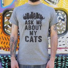 Load image into Gallery viewer, Ask Me About My Cats T-Shirt (Mens)-Mens T-Shirt-Bella's PetStor