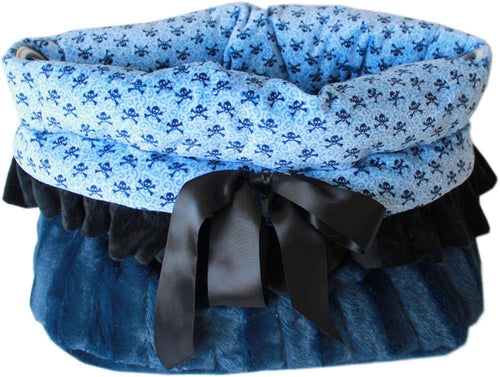 Baby Blue Skulls Reversible Snuggle Bugs Pet Bed, Bag, And Car Seat All-in-one-New!-Bella's PetStor