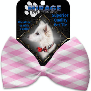 Baby Pink Plaid Pet Bow Tie Collar Accessory With Velcro-Bow Ties-Bella's PetStor