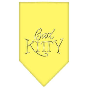 Bad Kitty Rhinestone Bandana Yellow Large-Bad kitty rhinestone bandana-Bella's PetStor