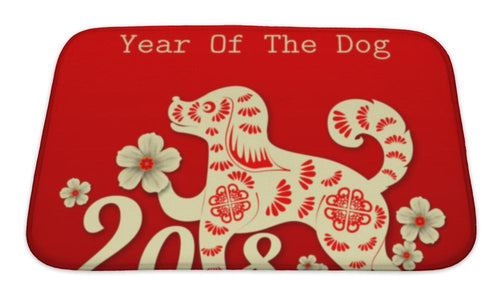 Bath Mat, 2018 Chinese New Year Paper Cutting Year Of Dog Design Fo-Bath Mat-Bella's PetStor