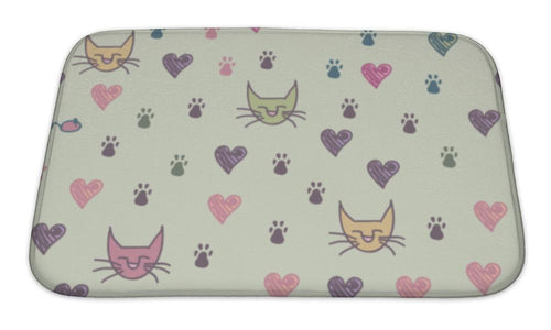 Bath Mat, A Pattern Of Cats Footprint-Bath Mat-Bella's PetStor